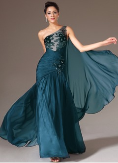 Trumpet/Mermaid One-Shoulder Floor-Length Chiffon Tulle Prom Dress With Ruffle Beading Appliques Lace
