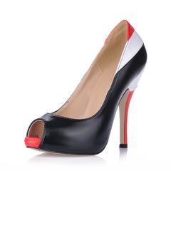 Leatherette Stiletto Heel Pumps Platform Peep Toe shoes  ...