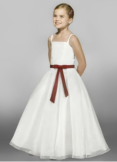 A-Line/Princess Strapless Floor-Length Organza Satin Flower Girl Dress With Lace Sash