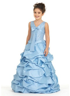 A-Line/Princess V-neck Floor-Length Taffeta Flower Girl Dress With Ruffle Sash