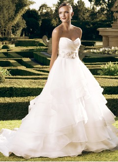 Ball-Gown Strapless Sweetheart Court Train Organza Wedding Dress With Ruffle Beading Flower(s)