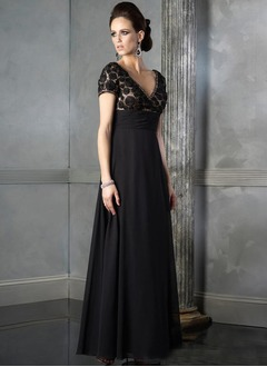 Empire V-neck Floor-Length Chiffon Cocktail Dress With Lace