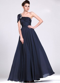 A-Line/Princess One-Shoulder Floor-Length Chiffon Satin Evening Dress With Ruffle