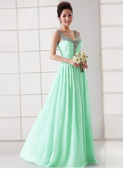 A-Line/Princess V-neck Floor-Length Chiffon Evening Dress With Ruffle Sequins