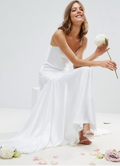 Sheath/Column Strapless Sweetheart Sweep Train Satin Chiffon Wedding Dress With Ruffle