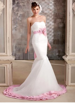 Trumpet/Mermaid Strapless Sweetheart Chapel Train Organza Wedding Dress With Ruffle Sash Flower(s)