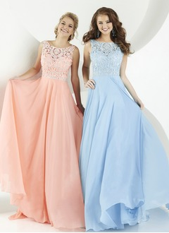 A-Line/Princess Scoop Neck Sweep Train Chiffon Prom Dress With Beading Appliques Lace