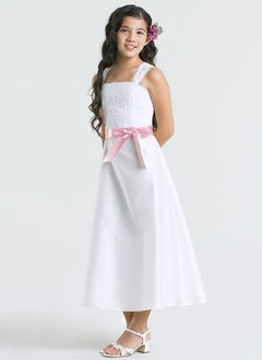A-Line/Princess Strapless Ankle-Length Satin Flower Girl Dress With Lace Sash