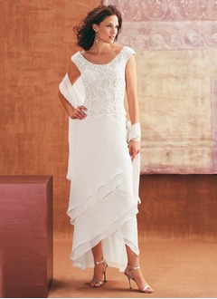Sheath/Column Scoop Neck Asymmetrical Chiffon Lace Mother of the Bride Dress With Cascading Ruffles