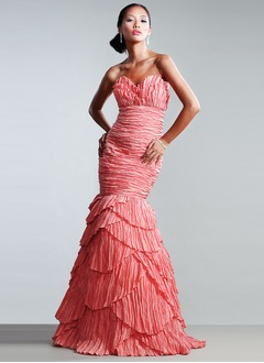 Trumpet/Mermaid Sweetheart Floor-Length Taffeta Evening Dress With Ruffle
