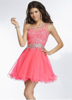 A-Line/Princess One-Shoulder Short/Mini Organza Prom Dress With Beading