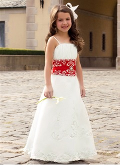 A-Line/Princess Strapless Floor-Length Satin Flower Girl Dress With Ruffle Lace Sash Beading
