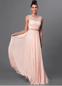 A-Line/Princess Scoop Neck Floor-Length Chiffon Lace Prom Dress With Ruffle Beading