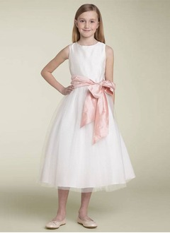 A-Line/Princess Scoop Neck Tea-Length Taffeta Tulle Flower Girl Dress With Ruffle Sash