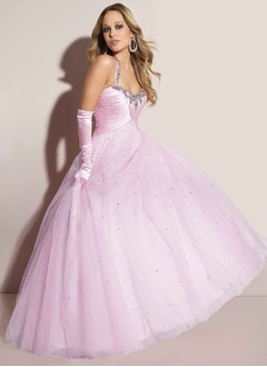 Ball-Gown Floor-Length Taffeta Tulle Quinceanera Dress With Ruffle Beading