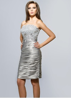 Sheath/Column Scalloped Neck Knee-Length Charmeuse Cocktail Dress With Ruffle Lace Beading