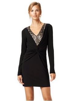 Sheath/Column V-neck Short/Mini Jersey Cocktail Dress With Ruffle Sequins