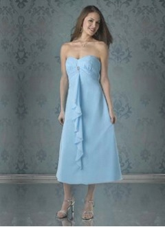 Empire Sweetheart Tea-Length Chiffon Bridesmaid Dress With Ruffle