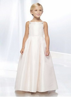 A-Line/Princess Strapless Floor-Length Taffeta Flower Girl Dress With Beading