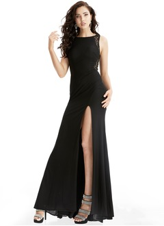 A-Line/Princess Scoop Neck Floor-Length Chiffon Prom Dress With Lace Beading Split Front