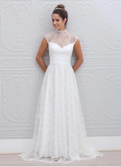 A-Line/Princess High Neck Sweep Train Chiffon Lace Wedding Dress