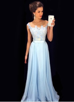 A-Line/Princess Scoop Neck Floor-Length Chiffon Prom Dress With Ruffle (0185096771)