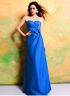 Empire Strapless Sweetheart Floor-Length Satin Bridesmaid Dress With Ruffle Bow(s)