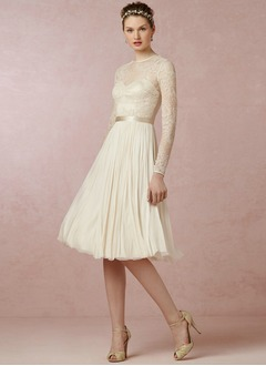 A-Line/Princess Scoop Neck Knee-Length Chiffon Lace Wedding Dress With Sash