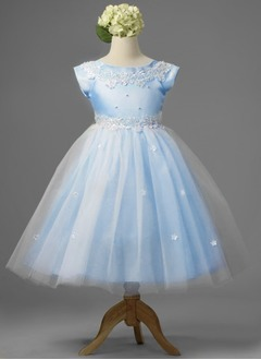 A-Line/Princess Scoop Neck Floor-Length Satin Tulle Flower Girl Dress With Lace