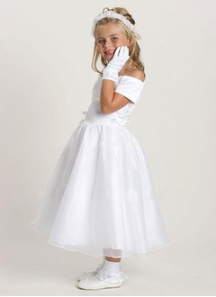 A-Line/Princess Off-the-Shoulder Ankle-Length Organza Satin Flower Girl Dress
