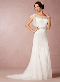 Trumpet/Mermaid Scoop Neck Sweep Train Tulle Wedding Dress With Appliques Lace