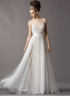 A-Line/Princess Scoop Neck Sweep Train Tulle Wedding Dress With Lace Beading Sequins