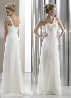 Empire One-Shoulder Sweep Train Chiffon Wedding Dress With Ruffle Beading