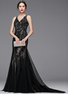 Trumpet/Mermaid V-neck Court Train Satin Tulle Evening Dress With Appliques Lace