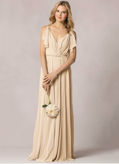 V-neck Floor-Length Chiffon Bridesmaid Dress With Pleated