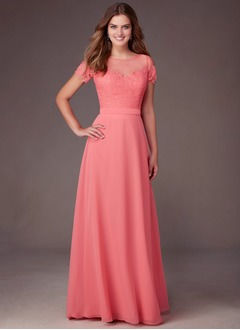 A-Line/Princess Scoop Neck Floor-Length Chiffon Tulle Bridesmaid Dress With Lace