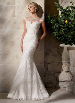 Trumpet/Mermaid Scoop Neck Sweep Train Tulle Lace Wedding  ...