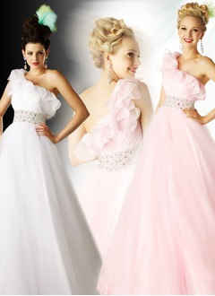 A-Line/Princess One-Shoulder Floor-Length Satin Tulle Prom Dress With Ruffle Beading