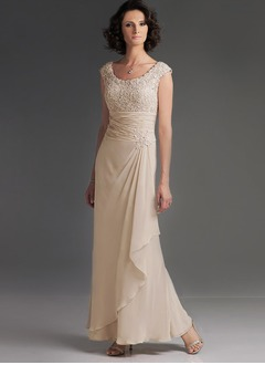 A-Line/Princess Scoop Neck Floor-Length Chiffon Mother of the Bride Dress With Ruffle Lace Cascading Ruffles (0085057599)