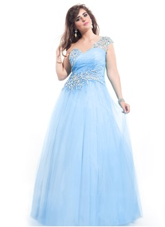 Empire One-Shoulder Floor-Length Tulle Prom Dress With Beading