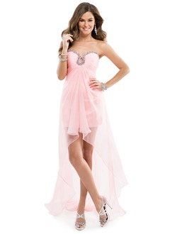 Sheath/Column Strapless Sweetheart Asymmetrical Chiffon Prom Dress With Ruffle Beading