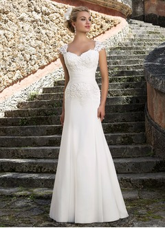 Trumpet/Mermaid Sweetheart Sweep Train Chiffon Lace Wedding Dress