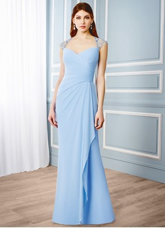 Sheath/Column Sweetheart Sweep Train Chiffon Mother of the Bride Dress With Ruffle Beading