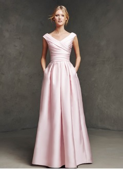 A-Line/Princess V-neck Floor-Length Satin Evening Dress With Ruffle (0175059121)