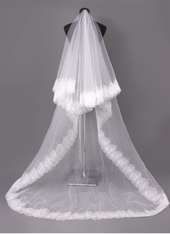One-tier Cathedral Bridal Veils With Lace Applique Edge (00605003688)