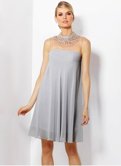 Empire High Neck Short/Mini Chiffon Tulle Mother of the Bride Dress With Beading