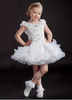 A-Line/Princess Off-the-Shoulder Short/Mini Organza Satin Flower Girl Dress With Beading