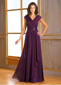 A-Line/Princess V-neck Floor-Length 30D Chiffon Mother of the Bride Dress With Sequins