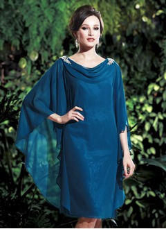 Sheath/Column Cowl Neck Knee-Length Chiffon Mother of the  ...