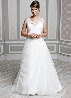 A-Line/Princess V-neck Chapel Train Organza Wedding Dress With Ruffle Beading